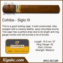 xi ga Cohiba Siglo 3 25 dieu