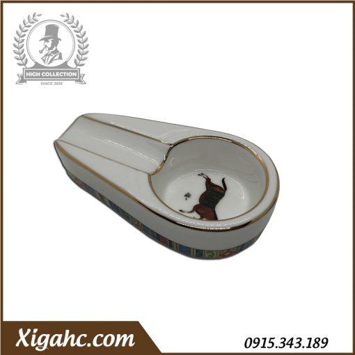 Gạt tàn xì gà 1 điếu P100 - Màu Trắng Hoa Văn Ngựa